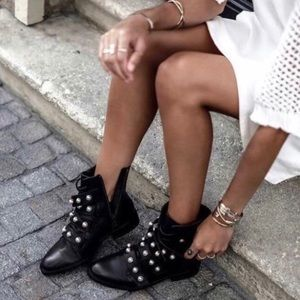 Zara Pearl Combat Moto Boots Black Size 38 8 7.5